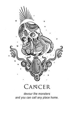 Cancer crab zodiac illustration