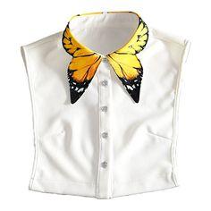 Collar de Camisa Falso,Vococal® Collar Falso Patrón Amarillo Elegante de la Mariposa Otoñales para Mujer