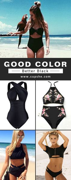 Good color, better black! Treat yourself to the black swimsuits. Classic and timeless. You'll be the most elegant and all eyes on you~ Check the collection at cupshe.com