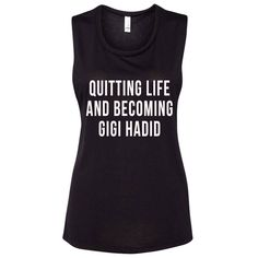 But seriously... let's just be Gigi Hadid- even for just a day! *Low cut arm hole *Tri-blend material *Loose and flowy fit *Long style tank