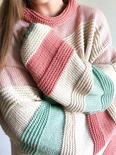 Knit Fashion, Knit Patterns, Easy Sweater Knitting Patterns, Knit Cardigan Pattern, Knitting Ideas, Two Color Knitting Patterns, Beginner Knitting Patterns, Knitting Sweaters, Bead Patterns
