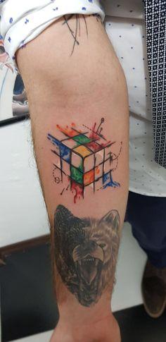 Rubik's Cube Tattoo Red Blue White Green Orange