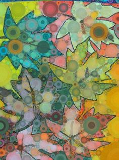 Artsonia Art Museum :: Artwork by Rachel, grade 12, Percolator watercolor leaves. Digital artwork using overlapping of fall leaves, emphasizing the texture and  through circles.  Expression can be used through color as well.  Instead of just fall leaves this could be explores as a use of color to depict emotion.  This gives each student's work a unique twist versus everyone having the same response.