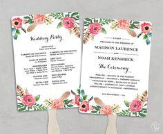 Wedding Program Fan Template, Bohemian Floral, Instant Download ...
