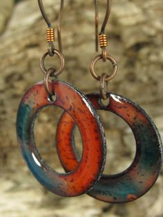 Copper Enamel Hoop Earrings in Rustic Orange and by coppersoul, $24.00