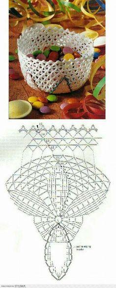 Diy Crochet Basket, Crochet Bowl, Crochet Basket Pattern, Crochet Doily Patterns, Crochet Chart, Crochet Basics, Thread Crochet, Crochet Doilies, Crochet Flowers