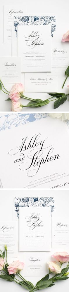 Elegant calligraphy wedding invitations in navy blue. Totally customizable with tons of options. Gorgeous!