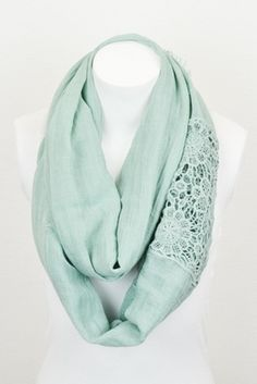 Mint Lace Scarf $15 #mint #scarves #infinity #fall