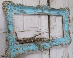 Aqua shabby chic picture frame