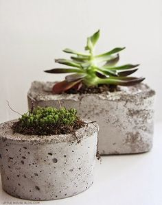 #DIY Concrete Planters....would like to do with color somehow like a ombre