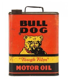 Bull Dog Motor Oil can Vintage Oil Cans, Vintage Metal Signs, Vintage Tins, Vintage Auto, Vintage Suitcases, Vintage Wood, Old Gas Pumps, Vintage Gas Pumps, Old Gas Stations