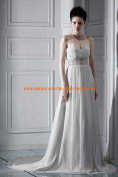A-linie Schöne Elegante Brautkleider aus Chiffon mit Schleppe