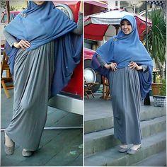 cotton on blue shark cape + grey abaya for holiday #HijabShar'i style #muslimfashion