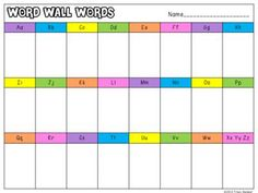 Word Wall Student Sheet  from The Bender Bunch on TeachersNotebook.com -  (1 page)  - Word Wall Student Sheet