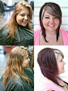 Before and after; Bob cut with a red violet color and white blonde highlighted bangs.