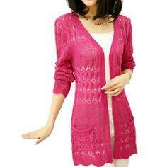 Fashion 2014 New Womens Hollow Out Knitwear Lady Cardigan Girl Sweater  Outerwear, Small, Fushia