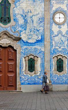 Igreja Do Carvalhido - Porto, Portugal - a fantastic door and window frames on a tiled wall
