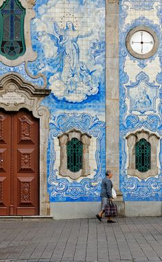 Igreja Do Carvalhido - Porto, Portugal - a fantastic door and window frames on a tiled wall