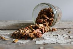 Maple Banana Nut Granola is a sweet, crunchy, delicious and nutrient dense homemade granola containing nuts, seeds, fruits, and more. Gluten and dairy free.