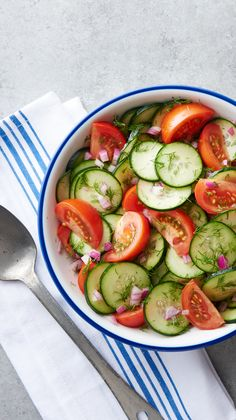 Crisp, fresh and full of herbs — this delicious and easy cucumber and tomato summer salad is on our dinner tables just about every night. It makes a great side dish for a picnic or BBQ!