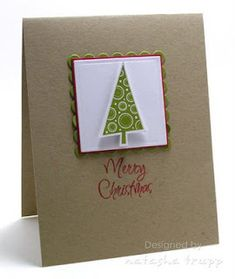 Stamps: O Christmas Tree (gelatins), Ink: Pure Poppy, Old Olive Paper: Old Olive, Pure Poppy, Kraft, White Accessories: Nestabilities, Pop Dots