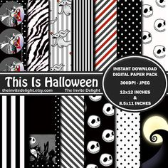 Nightmare Before Christmas Digital Paper Pack, This is Halloween, Jack Skellington Party Decor, Scrapbooking Paper, Instant Download