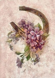 Vintage Violets and Horseshoe Print