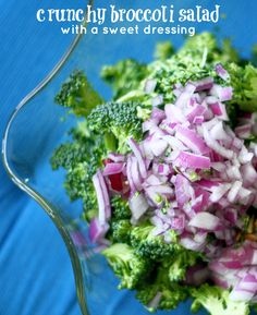 Crunchy broccoli salad with sunflower seeds, red onion, bacon and a sweet dressing.