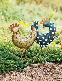 Funky Chickens Garden Art