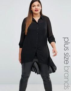 Image 1 ofLovedrobe Longline Sheer Lace Shirt