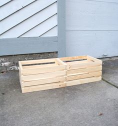 Two wooden crates glued together create a raised planter for outside! Wooden Crates Planters, Wood Crates, Raised Planter, Container Gardening, Garden Ideas, Gardens, Backyard, Create, Modern