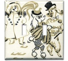 Vintage wallpaper switchplate.  With dapper poodles.