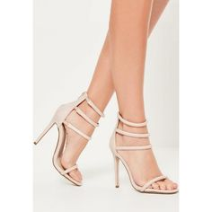 Missguided Four Strap Barely There Heels (€16) ❤ liked on Polyvore featuring shoes, pumps, nude, nude high heel shoes, nude strappy shoes, high heel shoes, strap pumps and high heel pumps