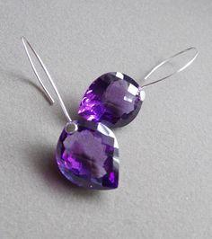 Fancy Cut Amethyst Drop Earrings Sterling by JewelstoTreasure247