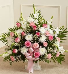 Tribute Pink & White Floor Basket Arrangement When words aren't enough to convey all you feel at this difficult time, let our beautiful floor basket arrangement help you express your feelings perfectl 800 Flowers, Altar Flowers, Church Flowers, Funeral Flowers, Pink Flowers, Wedding Flowers, Yellow Roses, Arrangements Funéraires, Funeral Floral Arrangements