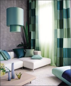 "super-size solid squares in complementary colors --""patchwork"" curtains"