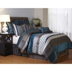 Nanshing Avalon Grey and Blue 8-Piece Polyester Comforter Set | Overstock.com Shopping - The Best Deals on Comforter Sets