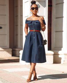 Image may contain: 1 person, standing Blue Midi Dress, Blue Dresses, Chic Couture Online, Classy, Style Inspiration, Shirt Dress, Denim, How To Wear, Shirts
