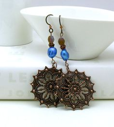 Boho Copper Dangle Earrings / Copper Filigree by cooljewelryJR, $19.00