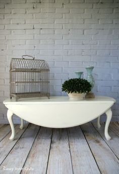 Drop leaf coffee table painted with Annie Sloan chalk paint, and a chat about what sells in our booth and what doesn't.