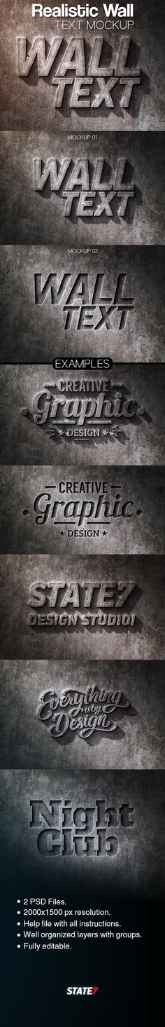 Realistic Wall Text #Mockup - Text #Effects #Actions Download here: https://graphicriver.net/item/realistic-wall-text-mockup/20305943?ref=alena994