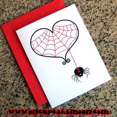 black widow and red spider web heart goth valentines, greeting cards, notecards or thank you notes. custom personalized - set of 10 handmade by OnCupcakeMoon