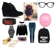 """""""School outfit"""" by jaykit on Polyvore featuring beauty, Eos, NYDJ, TOMS, Converse, Pieces and CC"""