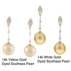 @Overstock - Elegant allure dangles on pretty golden southsea pearl earrings  Jewelry is finely fashioned in 14-karat gold with glittering diamonds  Drop earrings are a lovely gift or addition to your own jewelry boxhttp://www.overstock.com/Jewelry-Watches/14K-Gold-Dyed-Southsea-Pearl-Earrings/3882287/product.html?CID=214117 $222.99