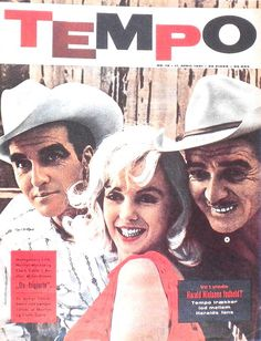 """Tempo - April 11th 1961, magazine from Denmark. Front cover photo of Marilyn Monroe with co-stars Montgomery Clift and Clark Gable in publicity for """"The Misfits"""", 1960."""