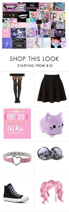 """Pastel Goth/ Creepy Kawaii"" by sakura-chan-cxcvi ❤ liked on Polyvore featuring GET LOST, Puella, Hot Topic, LC Lauren Conrad, Haze, Converse, Urban Decay and Kreepsville 666"