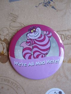 "Cheshire Cat ""I'm Celebrating!"" parody button badge. Walt Disney World / Disneyland. on Etsy, $5.16"