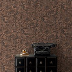 Marbled Charcoal/Rose Gold Wallpaper by Graham and Brown