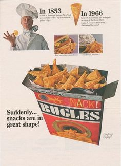 An ad for Bugles, after its launch in 1966.
