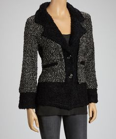 Take a look at this Charcoal & Black Wool-Blend Blazer by Avalin on #zulily today! $40 !!